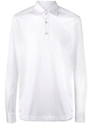 Kiton Emroidered Long Sleeve Polo Shirt White