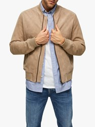 Selected Homme Suede Bomber Jacket Cornstalk