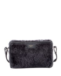 Balenciaga Bazar Shearling Fur Shoulder Bag Gray