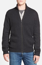 Ag Jeans Textured Knit Zip Sweater Charcoal