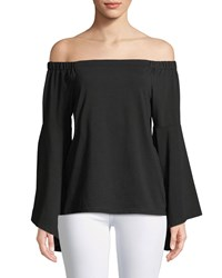 Neiman Marcus Off The Shoulder Cacading Sleeve Blouse Black