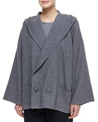 Eskandar Hooded Double Breasted Cashmere Coat Flannel