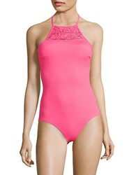 Coco Rave Piper Macrame One Piece Halter Swimsuit Bright Pink