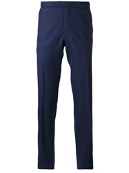 Fashion Clinic Timeless Plaid Tailored Trousers Blue
