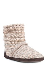 Muk Luks Faux Fur Lined Scrunch Bootie Brown