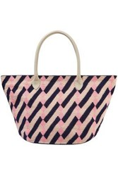 Sophie Anderson Woman Leather Trimmed Printed Woven Tote Baby Pink