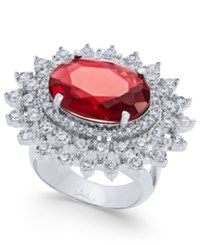 Joan Boyce Silver Tone Oval Center Crystal Statement Ring Ruby