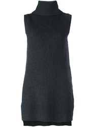 P.A.R.O.S.H. Roll Neck Sleeveless Blouse Grey