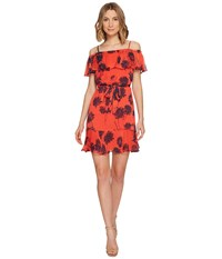 Donna Morgan Belted Trapeze Dress With Ruffle Cold Shoulder Tea Rose Red Marine Navy Mujlti Women's Dress Orange