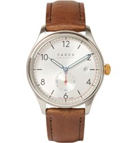 Farer Stark Stainless Steel And Leather Watch Tan