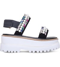 Suecomma Bonnie Jewel Sports Flatform Sandals Black