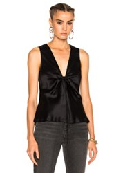 Alexander Wang T By Silk Charmeuse Tie Knot Sleeveless Top In Black