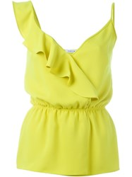 P.A.R.O.S.H. Drawstring Waist Ruffle Top Yellow And Orange