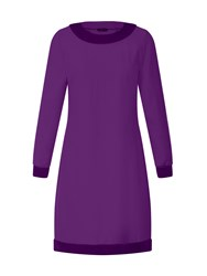 Hotsquash Swing Dress With Velvet In Clever Fabric Purple