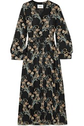 Nanushka Femme Belted Floral Print Crepon Midi Dress Black