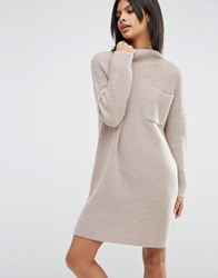 Asos Swing Dress In Rib Knit With Top Pocket Beige