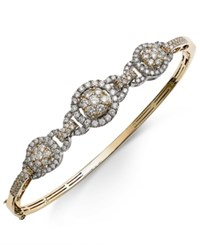Macy's Diamond Pave Bangle Bracelet 2 Ct. T.W. In 14K Gold And White Gold Two Tone