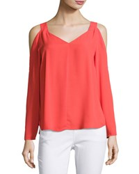 1.State Long Sleeve Cold Shoulder Top Red