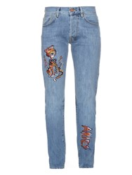Aries Lily Cat Embroidered Denim Jeans