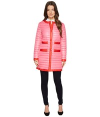 Kate Spade 32 Quilted Contrast Binding Coat Pink Swirl