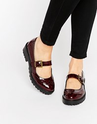 Asos Mendoza Flat Shoes Oxblood Patent Red