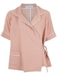 Olympiah Wrap Style Shirt Polyester Pink Purple
