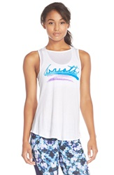 Pink Lotus 'Breathe' Graphic Drape Back Tank White