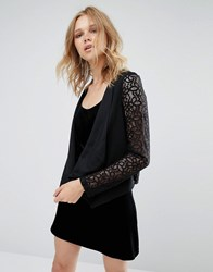 Mango Lace Sleeve Waterfall Jacket Black