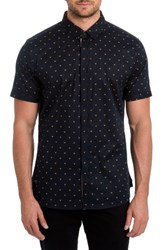 7 Diamonds Men's Free Sound Print Woven Shirt Midnight