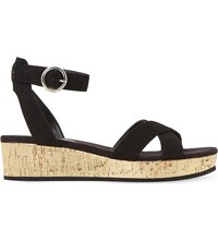 Dune Kalipo Cross Strap Flatform Sandals Black Suede