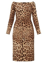 Dolce And Gabbana Leopard Print Off The Shoulder Wool Crepe Dress Leopard