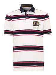 Howick Hursley Stripe Short Sleeve Rugby Cerise