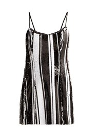 Halpern Striped Sequinned Mini Dress Black White