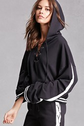 Forever 21 Private Academy Lace Up Hoodie Black White
