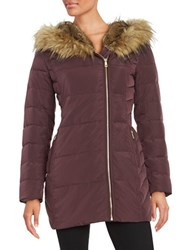 Cole Haan Signature Faux Fur Lined Hooded Quilted Down Coat Red