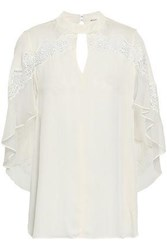 Elie Tahari Cape Effect Guipure Lace Trimmed Silk Georgette Blouse Ivory