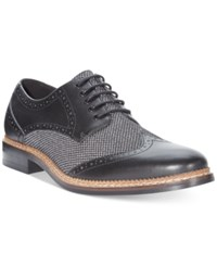 Bar Iii Monte Mixed Media Wing Tip Oxfords Only At Macy's Men's Shoes Black