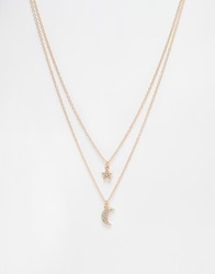New Look Premium Crystal Star And Moon Necklace Gold