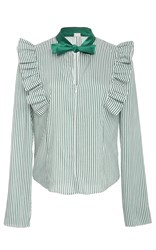 Alexis Mabille Striped Blouse Green