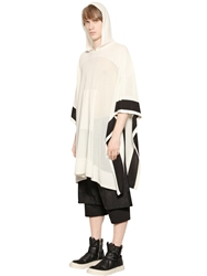 D.Gnak Boxy Cotton Blend Knit Poncho Ivory