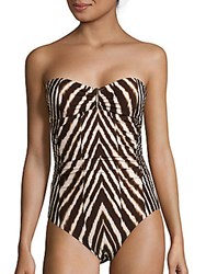Calvin Klein Zebra Print Swimsuit Chocolate