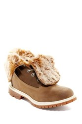 Timberland Teddy Faux Fur Foldover Ankle Boot Brown