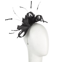John Lewis Lara Flower Sinnamay Loop Fascinator Black