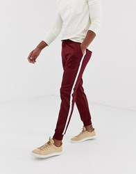 Kiomi Cuffed Joggers In Burgundy With Side Stripe Red