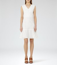 Reiss Alice Womens Lace Fit And Flare Dress In White