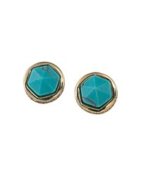 Ralph Lauren Faceted Stud Earrings Turquoise Gold