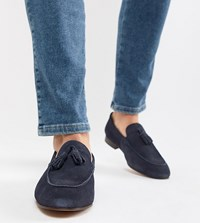 Hudson H By Wide Fit Bolton Tassel Loafers In Navy Suede