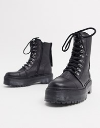 Bronx Leather Chunky Military Boot Black
