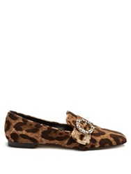Dolce And Gabbana Leopard Print Velvet Loafers Multi
