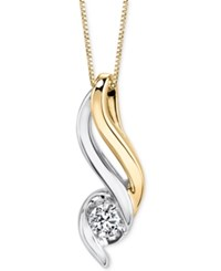 Sirena Diamond Pendant Necklace 1 5 Ct. T.W. In 14K Gold And White Gold Two Tone